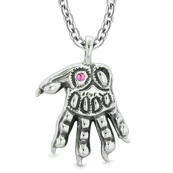 WereWolf Supernatural Powers Courage All Seeing Eye Cute Pink Crystal Wolves Paw Pendant Necklace