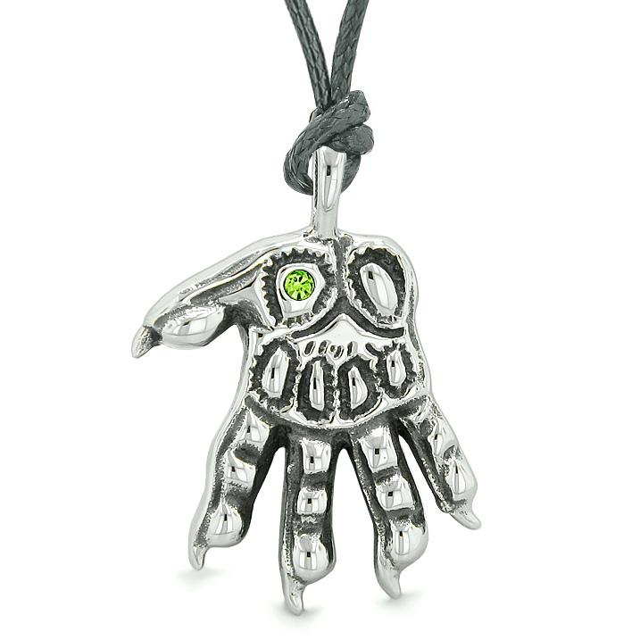WereWolf Supernatural Power Courage All Seeing Eye Green Crystal Wolves Paw Cord Necklace