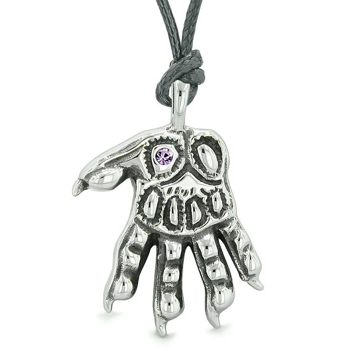WereWolf Supernatural Powers Courage All Seeing Eye Purple Crystal Wolves Paw Cord Necklace