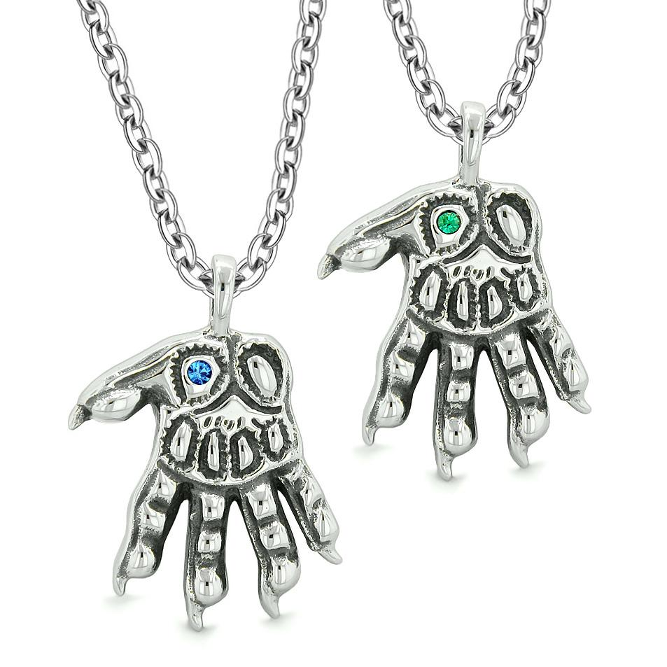 WereWolf Paws Supernatural Amulets Love Couples Best Friends Blue Green Crystals Pendant Necklaces