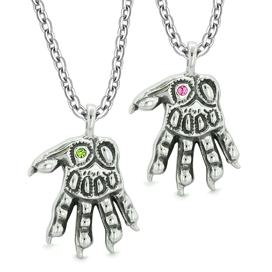 WereWolf Paws Supernatural Amulets Love Couples Best Friends Green Pink Crystals Pendant Necklaces