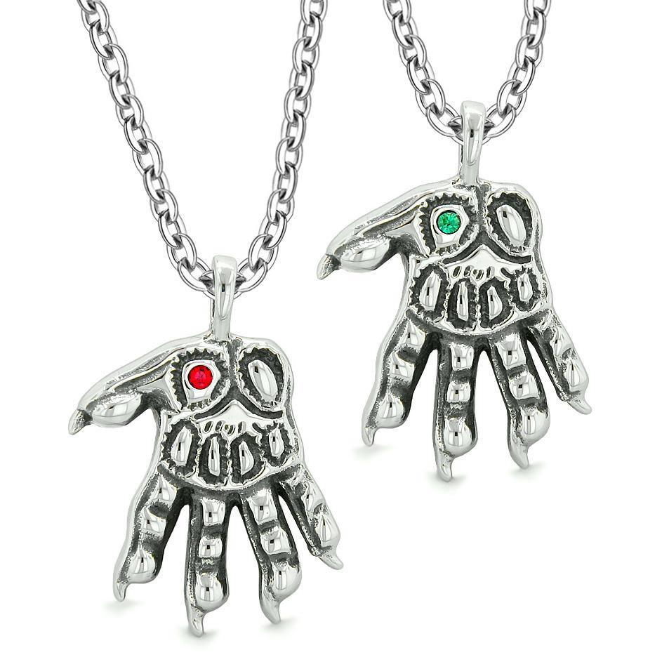 WereWolf Paws Supernatural Amulets Love Couples Best Friends Red Green Crystals Pendant Necklaces