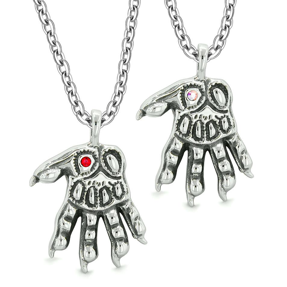 WereWolf Paws Supernatural Amulets Love Couple Best Friends Rainbow Red Crystals Pendant Necklaces