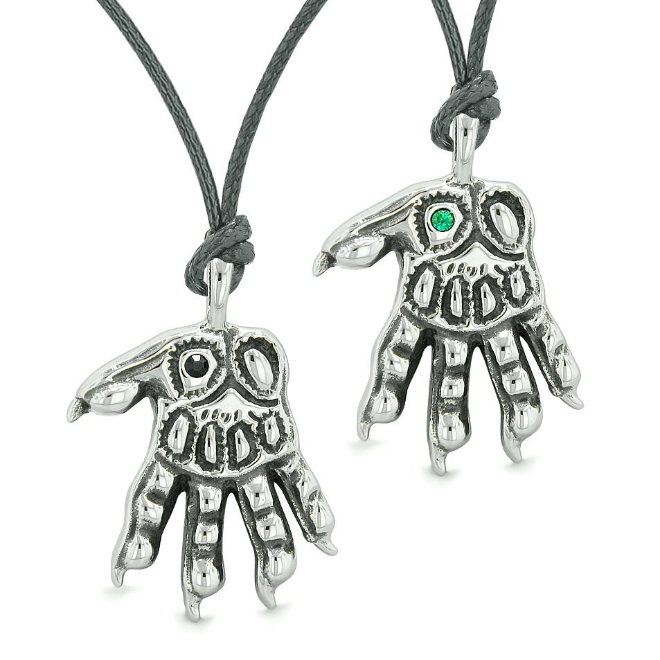WereWolf Paws Supernatural Amulets Love Couples Best Friends Black Green Crystals Necklaces