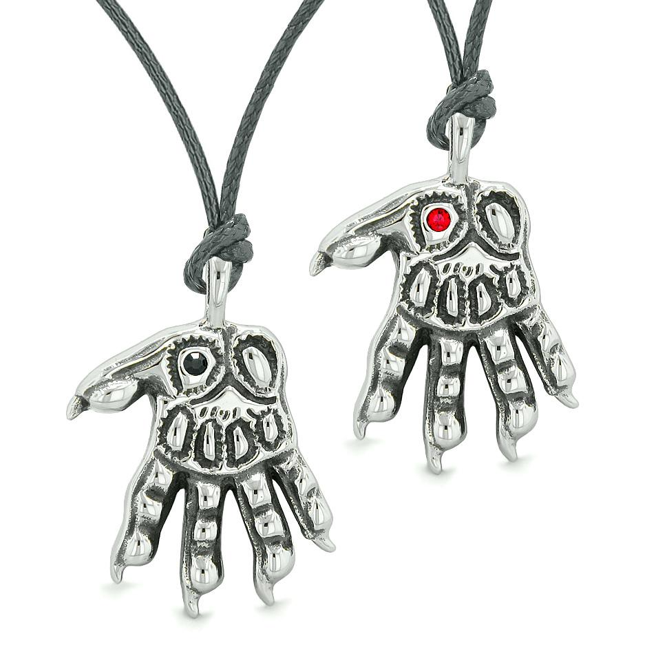 WereWolf Paws Supernatural Amulets Love Couples or Best Friends Black Red Crystals Necklaces