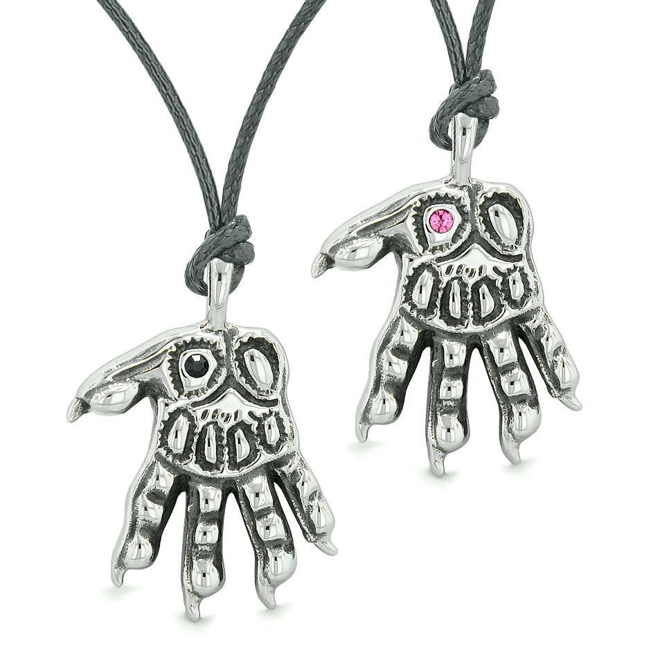 WereWolf Paws Supernatural Amulets Love Couples or Best Friends Black Pink Crystals Necklaces