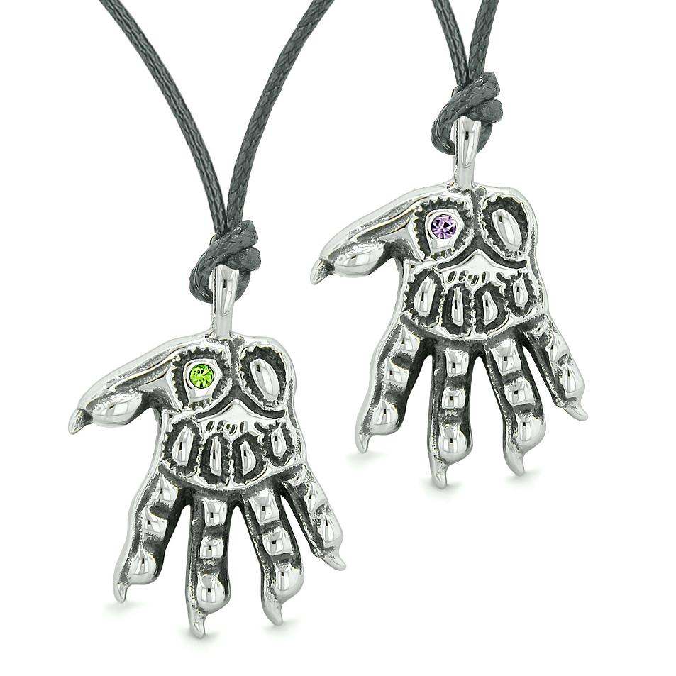 WereWolf Paws Supernatural Amulets Love Couples Best Friends Green Purple Crystals Necklaces