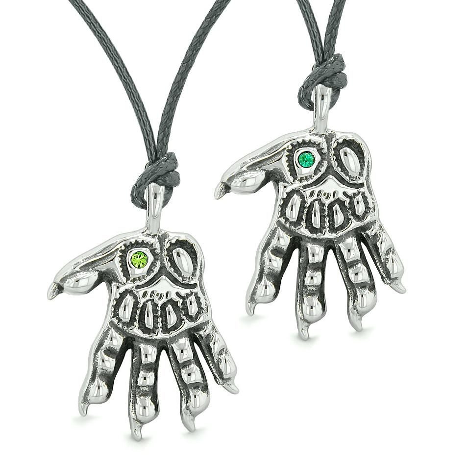WereWolf Paws Supernatural Amulets Love Couples Best Friends Neon Royal Green Crystals Necklaces