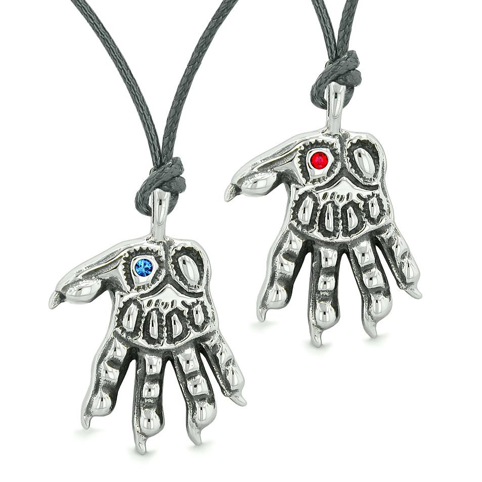 WereWolf Paws Supernatural Amulets Love Couples or Best Friends Blue Red Crystals Necklaces