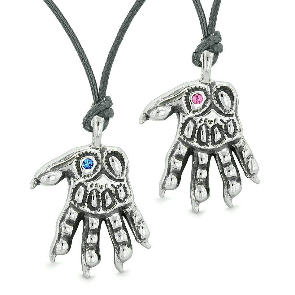 WereWolf Paws Supernatural Amulets Love Couples or Best Friends Blue Pink Crystals Necklaces