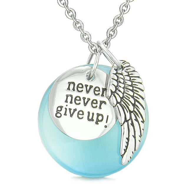Angel Wing Inspirational Never Never Give Up Amulet Sky Blue Simulated Cats Eye Pendant Necklace