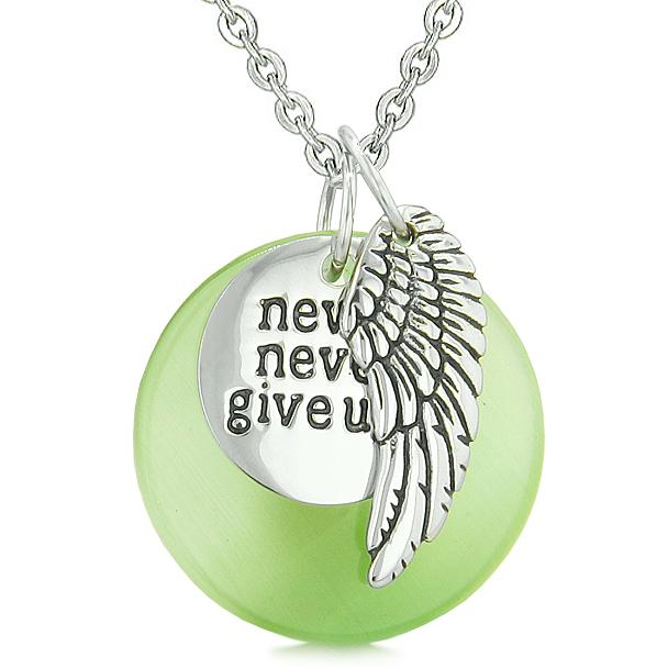 Angel Wing Inspiration Never Never Give Up Amulet Green Simulated Cats Eye Pendant Necklace