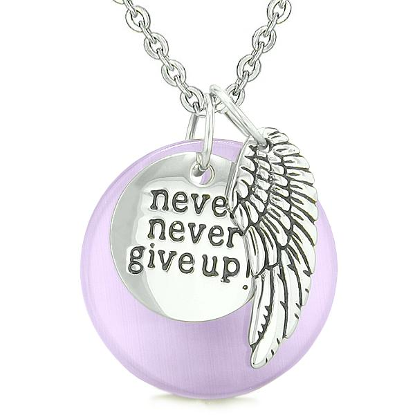 Angel Wing Inspirational Never Never Give Up Amulet Purple Simulated Cats Eye Pendant Necklace