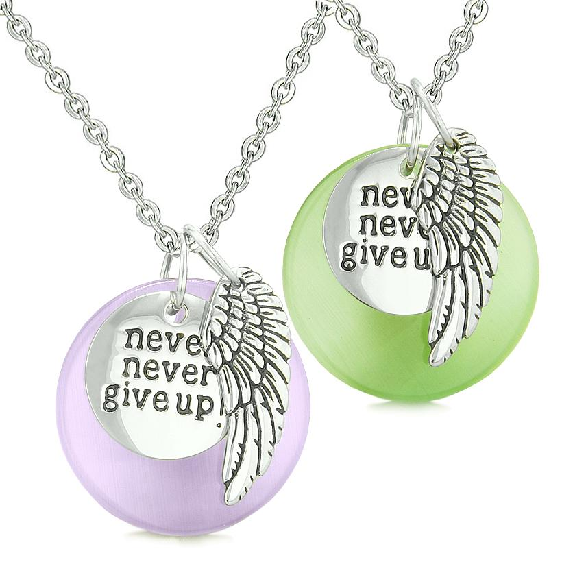 Angel Wing Inspirational Never Give Up Love Couple Amulets Green Purple Simulated Cat Eye Necklaces