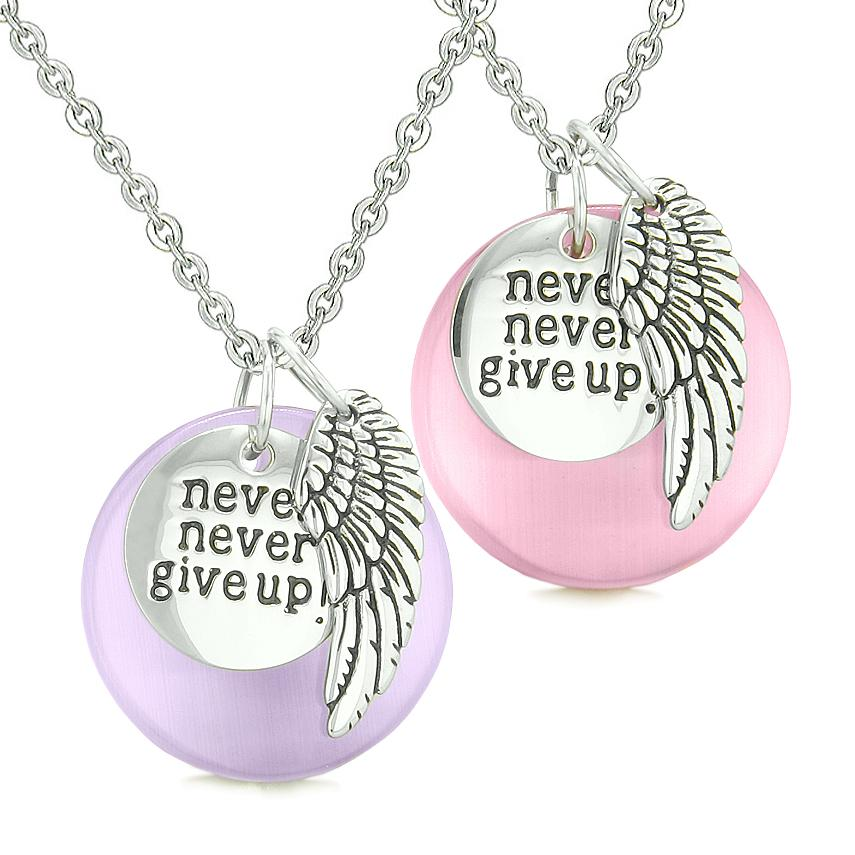 Angel Wing Inspirational Never Give Up Love Couple Amulets Pink Purple Simulated Cats Eye Necklaces