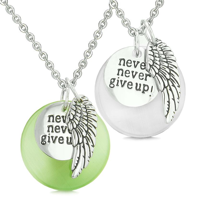 Angel Wing Inspirational Never Give Up Love Couple Amulets Green White Simulated Cats Eye Necklaces