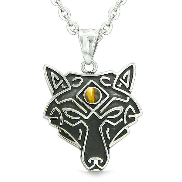 Celtic Wolf All Seeing Third Eye Magic Protection Amulet Tiger Eye Pendant 18 inch Necklace