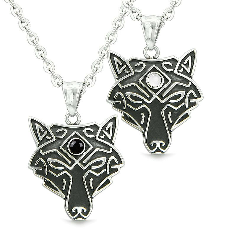 Celtic Wolf Third Eye Love Couple or Best Friends Simulated Onyx White Simulated Cats Eye Necklaces