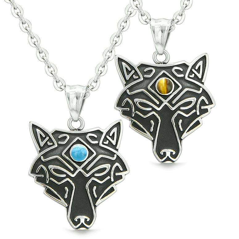 Celtic Wolf Third Eye Protection Love Couple Best Friends Tiger Eye Simulated Turquoise Necklaces