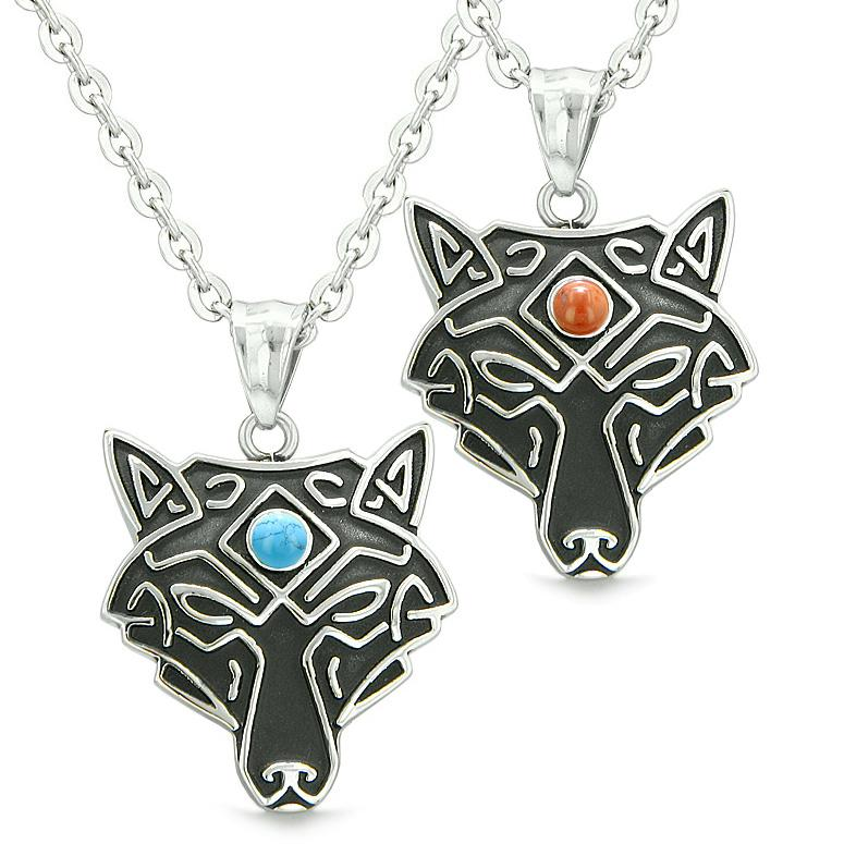 Celtic Wolf Third Eye Protection Love Couple Best Friends Red Jasper Simulated Turquoise Necklaces