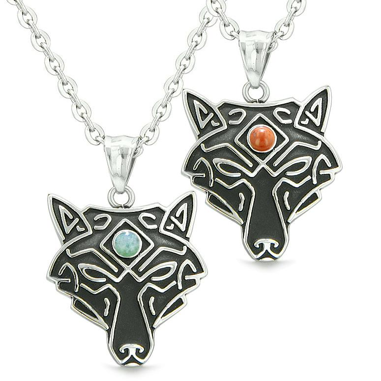 Celtic Wolf Third Eye Protection Magic Love Couples Best Friends Green Quartz Red Jasper Necklaces