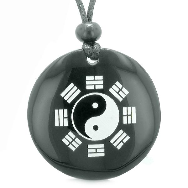 Yin Yang Eight Trigrams BA GUA Amulet Black Agate Gemstone Circle Spiritual Powers Pendant Necklace