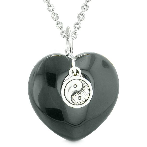 Yin Yang Balance Powers Puffy Magic Heart Amulet Black Agate Pendant 22 inch Necklace