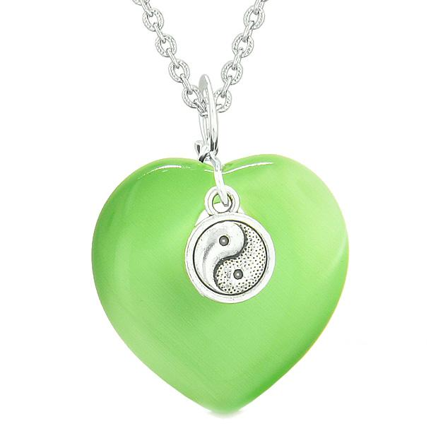 Yin Yang Balance Powers Puffy Magic Heart Amulet Green Simulated Cats Eye Pendant Necklace