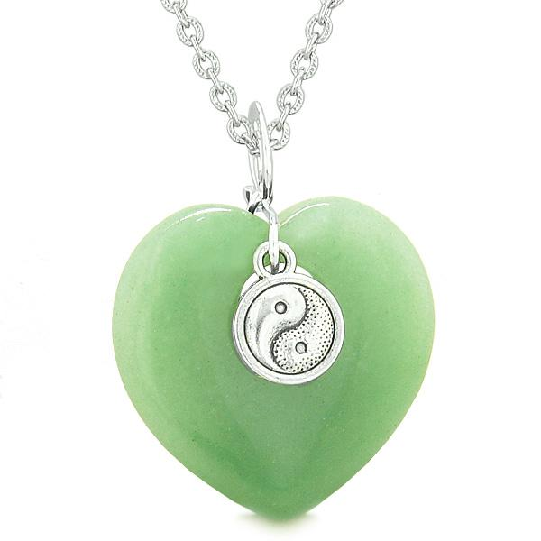 Yin Yang Balance Powers Puffy Magic Heart Amulet Green Quartz Pendant 18 inch Necklace