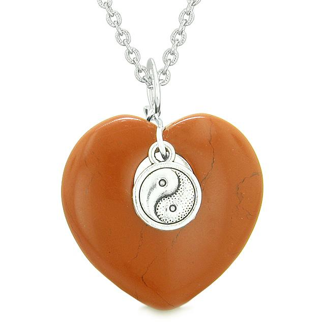 Yin Yang Balance Powers Puffy Magic Heart Amulet Red Jasper Pendant 22 inch Necklace
