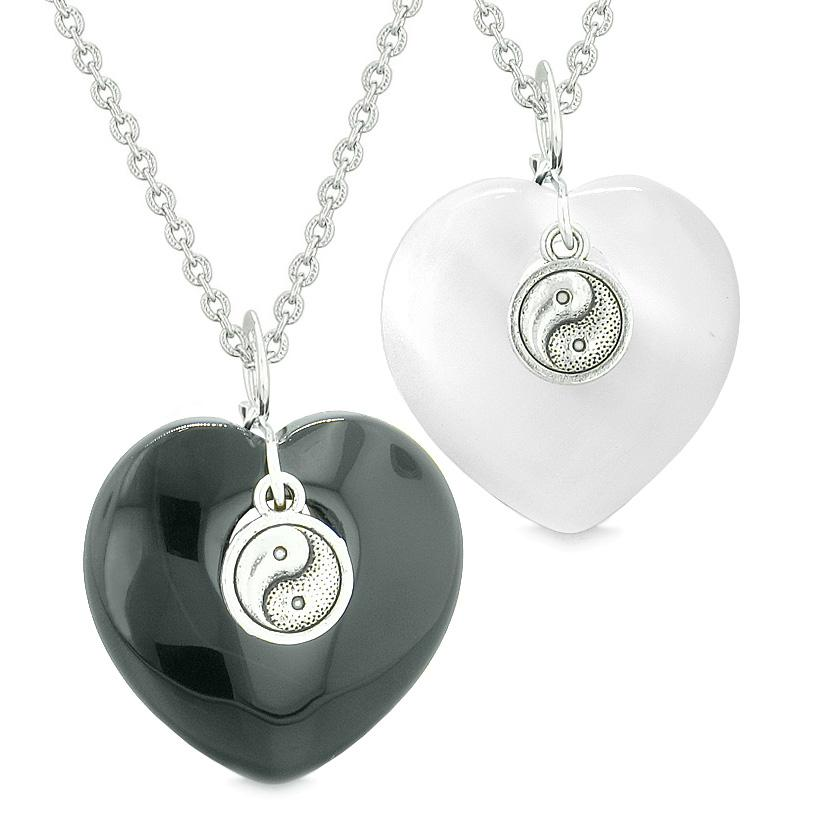 Yin Yang Powers Hearts Love Couples or Best Friends Set Agate White Simulated Cats Eye Necklaces