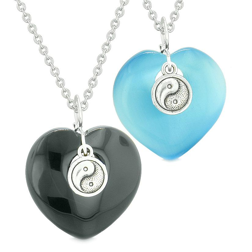 Yin Yang Powers Hearts Love Couples or Best Friends Set Agate Sky Blue Simulated Cats Eye Necklaces