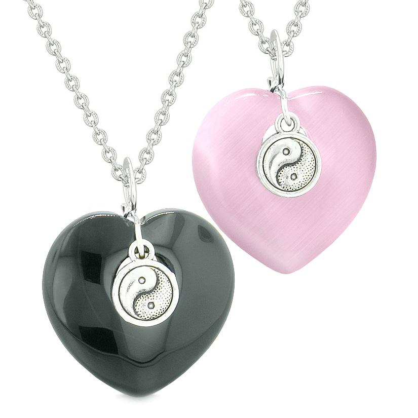 Yin Yang Powers Hearts Love Couples or Best Friends Set Agate Pink Simulated Cats Eye Necklaces