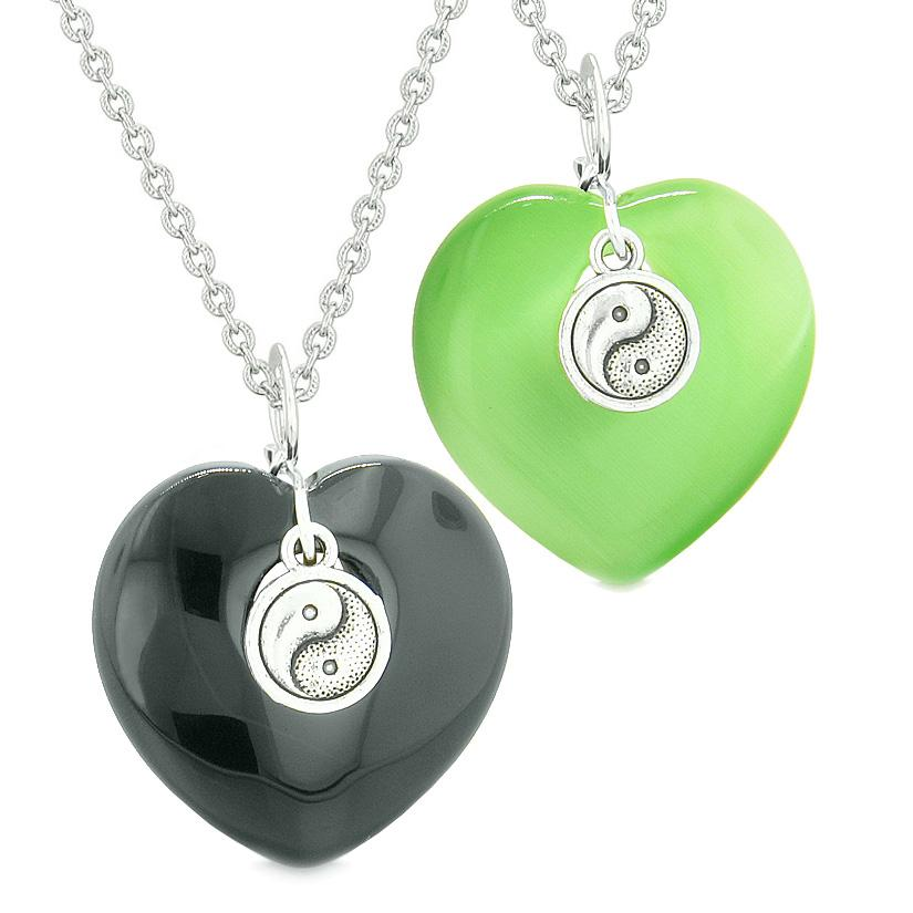 Yin Yang Powers Hearts Love Couples Best Friends Set Agate Green Simulated Cats Eye Necklaces