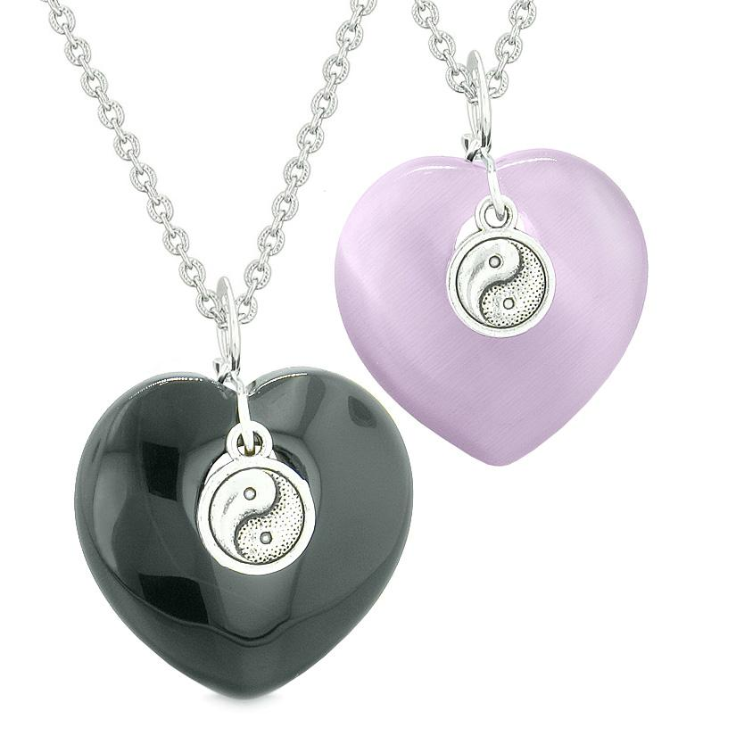 Yin Yang Powers Hearts Love Couples or Best Friends Set Agate Purple Simulated Cats Eye Necklaces