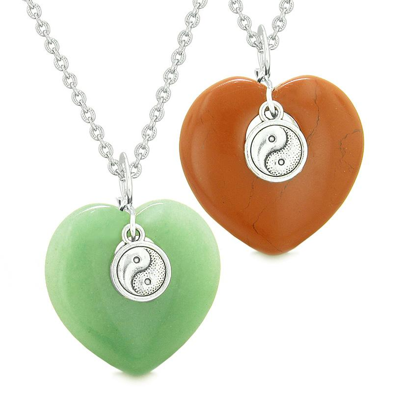Yin Yang Powers Magic Hearts Love Couples or Best Friends Set Green Quartz Red Jasper Necklaces