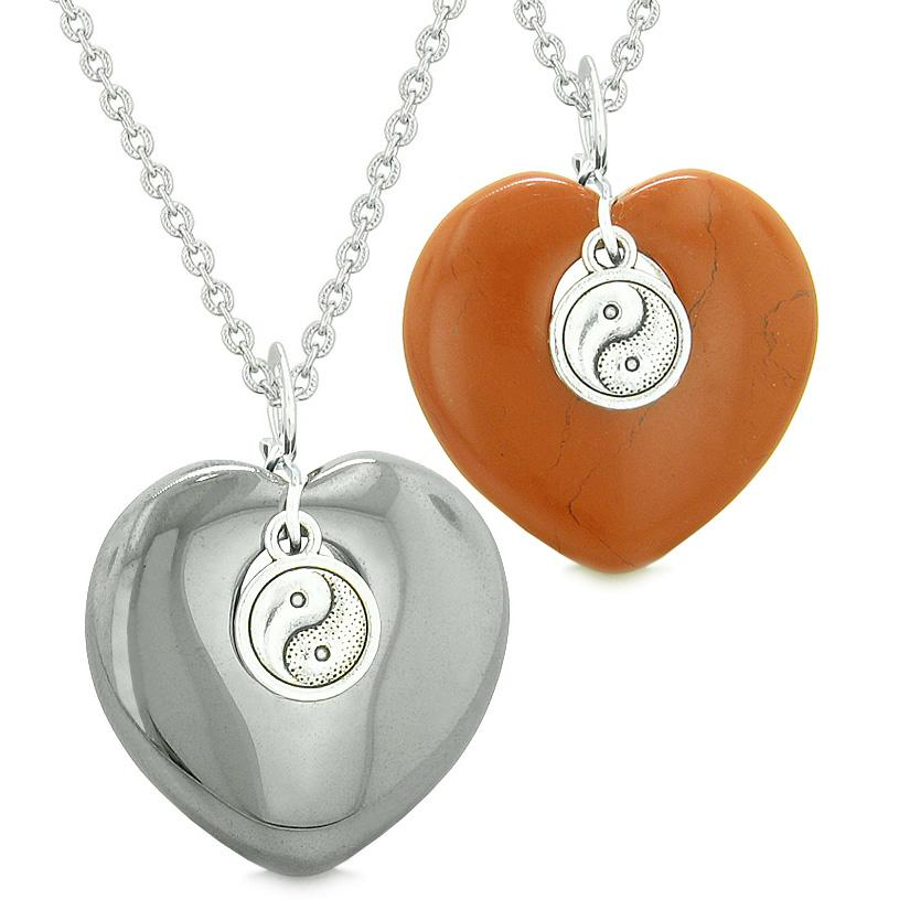 Yin Yang Powers Magic Hearts Love Couples or Best Friends Set Hematite Red Jasper Necklaces