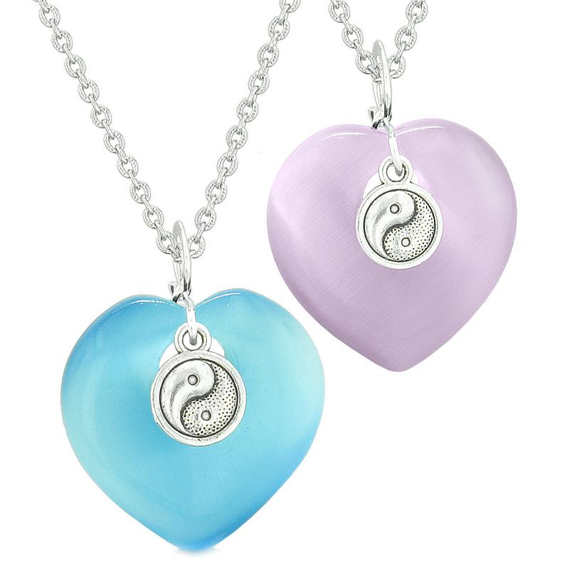 Yin Yang Powers Hearts Love Couples or Best Friends Sky Blue Purple Simulated Cats Eye Necklaces