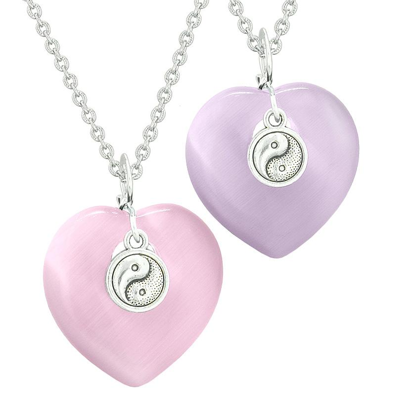 Yin Yang Powers Hearts Love Couples or Best Friends Set Pink Purple Simulated Cats Eye Necklaces