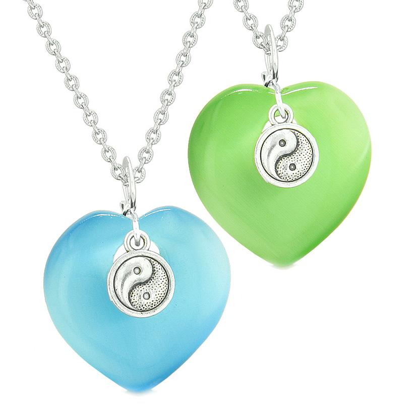 Yin Yang Powers Hearts Love Couples or Best Friends Set Sky Blue Green Simulated Cats Eye Necklaces