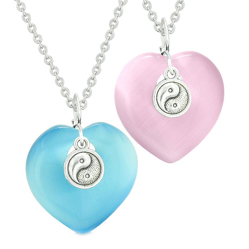 Yin Yang Powers Hearts Love Couples or Best Friends Set Sky Blue Pink Simulated Cats Eye Necklaces