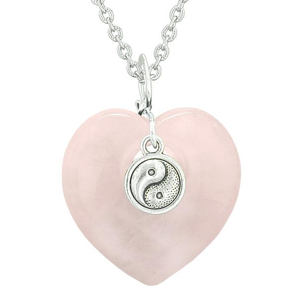 Yin Yang Balance Powers Puffy Magic Heart Amulet Rose Quartz Pendant 22 inch Necklace