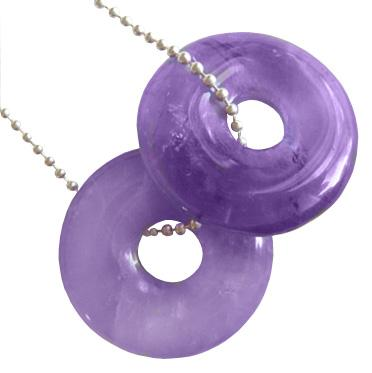 Amethyst Crystal Donuts With Silver Chain