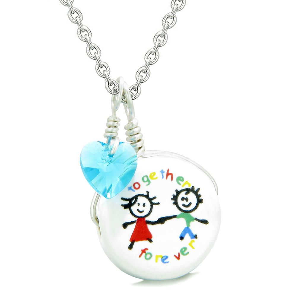 Handcrafted Cute Ceramic Charm Best Friends Together Forever Blue Heart Amulet Pendant 18 Inch Necklace