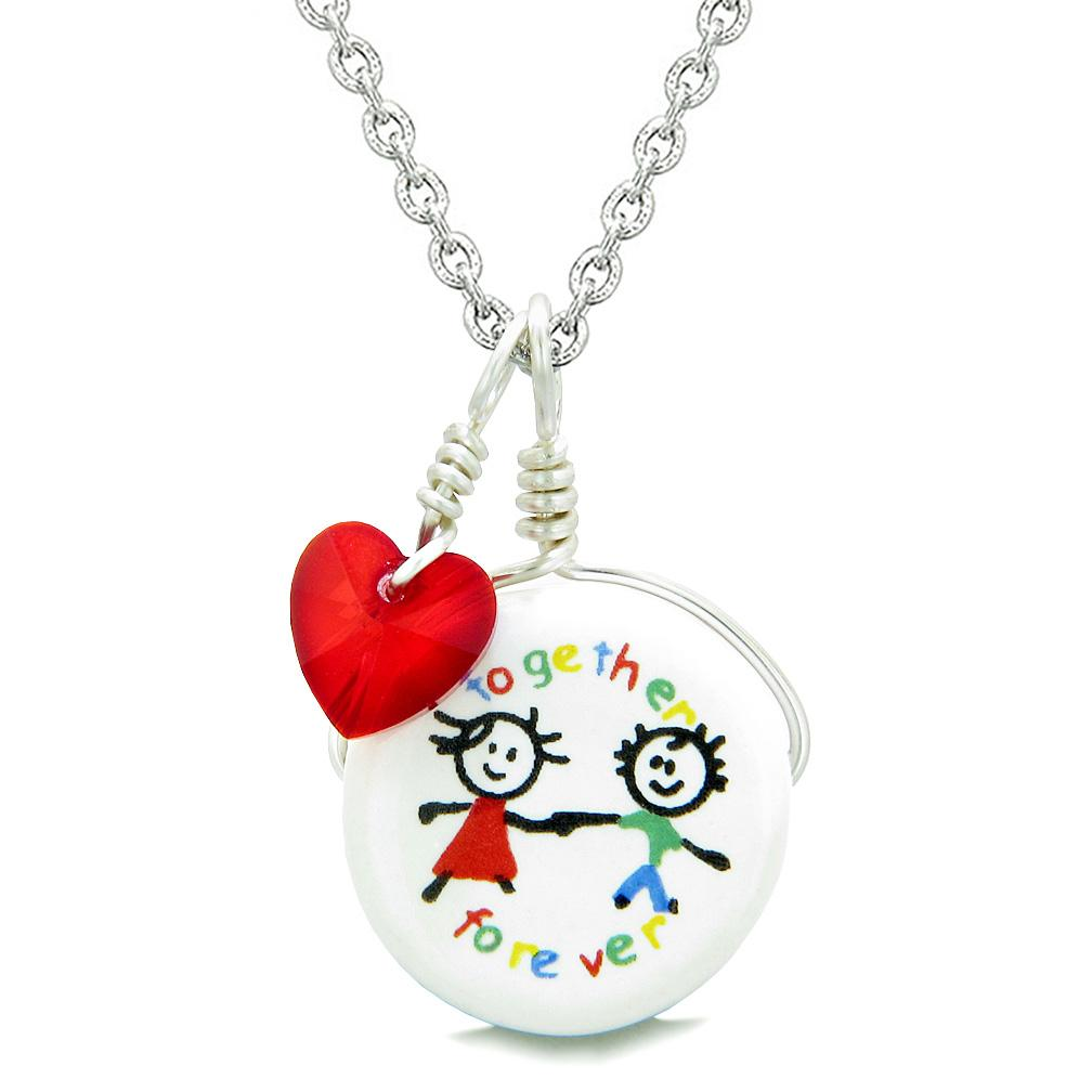 Handcrafted Cute Ceramic Charm Best Friends Together Forever Red Heart Amulet Pendant 22 Inch Necklace