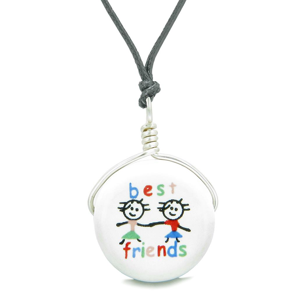 Handcrafted Cute Ceramic Lucky Charm Couple Best Friends Forever Amulet Pendant Adjustable Necklace