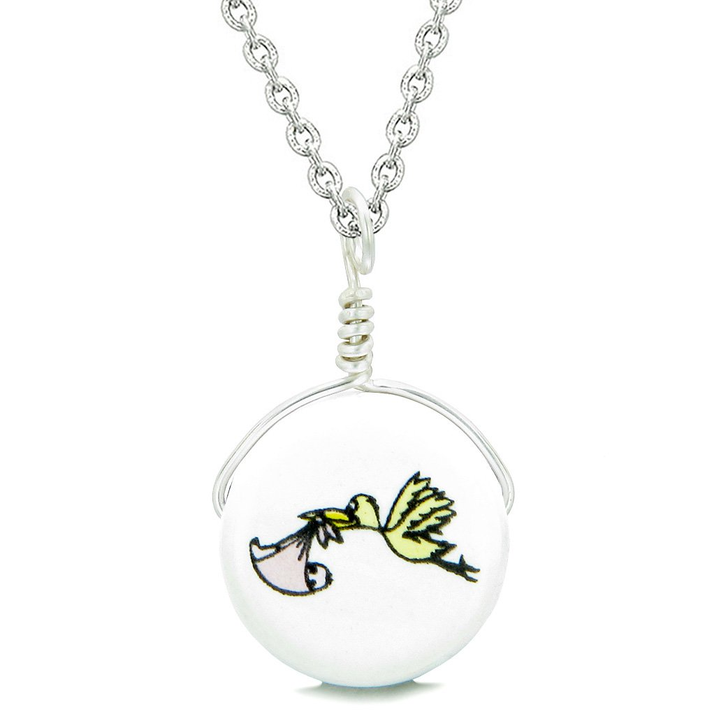 Handcrafted Cute Ceramic Lucky Charm Stork Caring Baby Girl Amulet Pendant 22 Inch Necklace