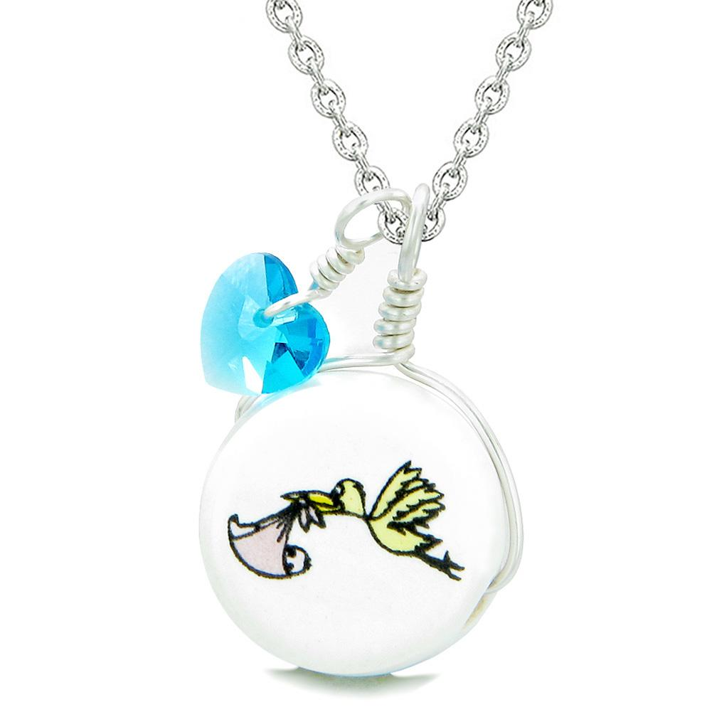 Handcrafted Cute Ceramic Lucky Charm Stork Caring Baby Girl Blue Heart Amulet Pendant 18 Inch Necklace