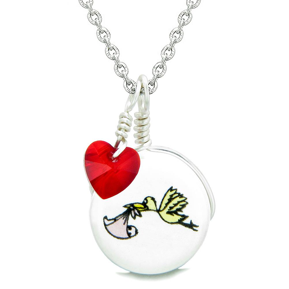 Handcrafted Cute Ceramic Lucky Charm Stork Caring Baby Girl Red Heart Amulet Pendant 18 Inch Necklace