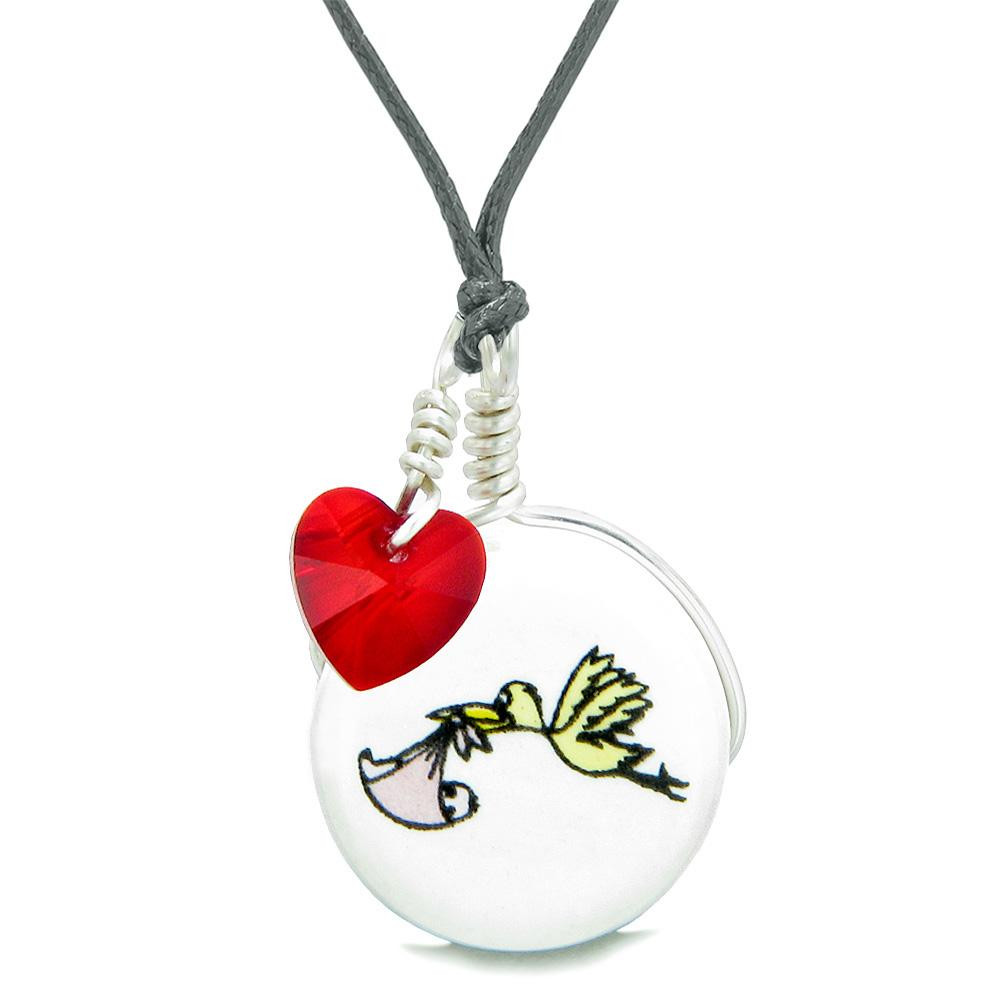 Handcrafted Cute Ceramic Lucky Charm Stork Caring Baby Girl Red Heart Amulet Pendant Adjustable Necklace